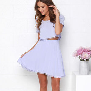 LuLus Lovely 'Com-Beau' Lavender Two-Piece Dress